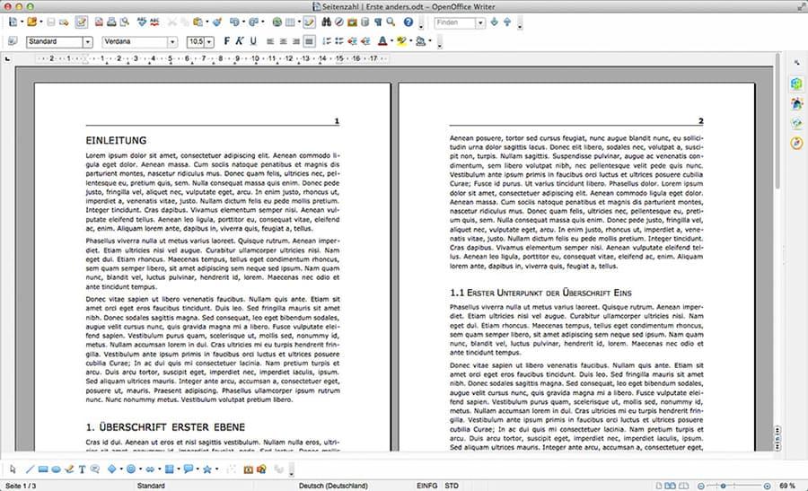 1. OpenOffice Ausgangsdokument