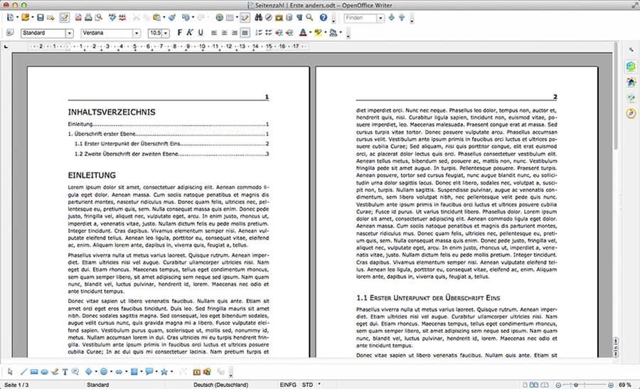 2. OpenOffice Inhaltsverzeichnis