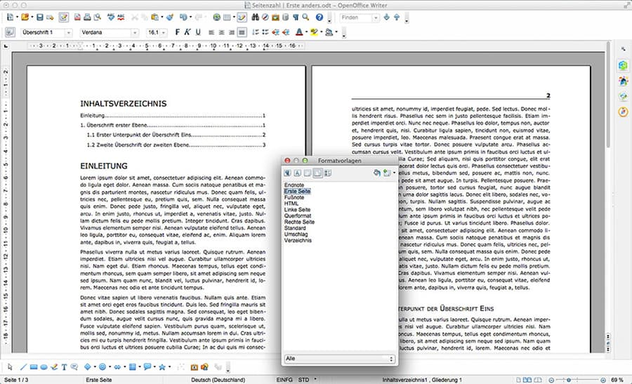 4. OpenOffice Seiten-Formatvorlage