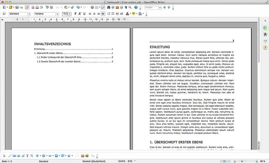 6. OpenOffice Erste Seite anders