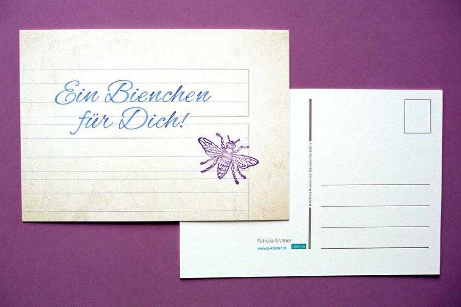 Bienchen für dich, Schreibheft, Bienchenstempel, Postkarte, DDR, Fleißkärtchen, Grundschule, ostdeutsch