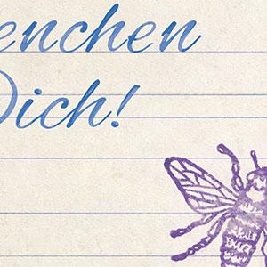 Bienchen für dich, Schreibheft, Bienchenstempel, Postkarte, Photoshop, Detail, DDR, Fleißkärtchen, Grundschule, ostdeutsch