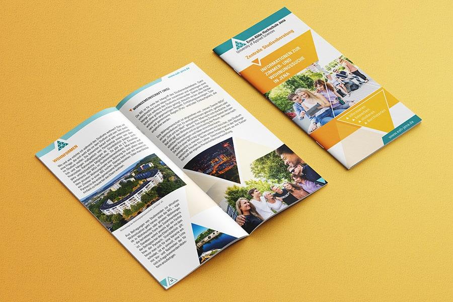 Broschüre, Folder, Layout, Design, Print, Druck, Wohnungssuche, FH, Hochschule, EAH, Jena, Thüringen
