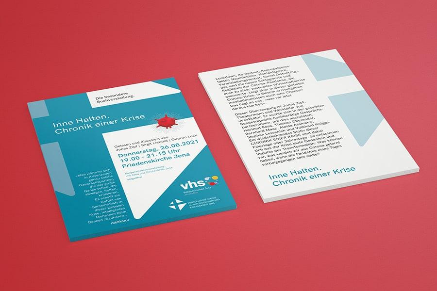 Flyer, Handzettel, zweiseitig, VHS, Volkshochschule, Corporate Design, Layout, Grafik, Grafikdesign, Printdesign, Druck, Jena, Thüringen, Buchvorstellung, Krise, Buch, Literatur, Lesung, Diskussion