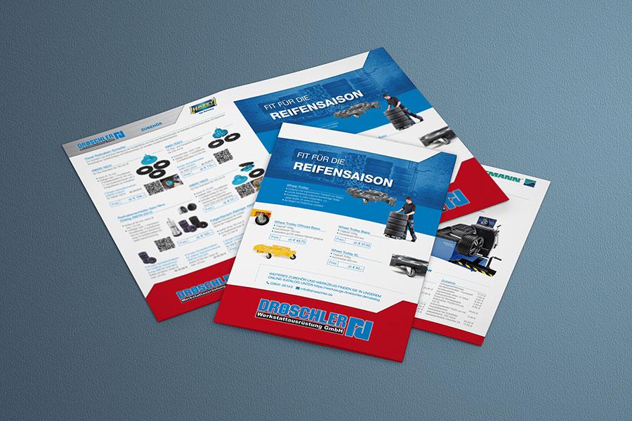 Flyer, Folder, Broschüre, Printdesign, Druck, Technik, Werkstattausrüstung, Reifen, Auto, 2019, Jena, Thüringen