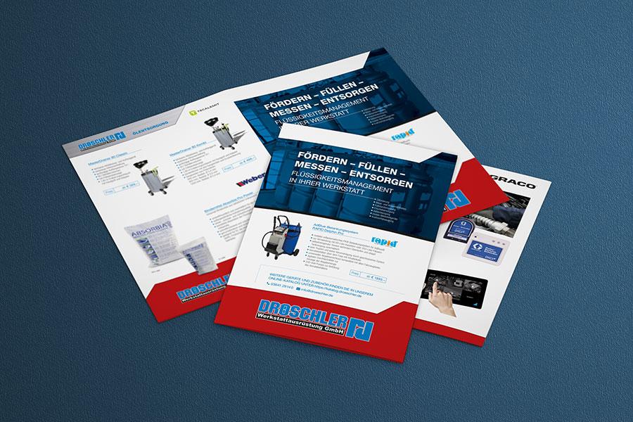 Flyer, Folder, Broschüre, Printdesign, Druck, Technik, Werkstattausrüstung, Öl, Flüssigkeiten, Auto, 2019, Jena, Thüringen