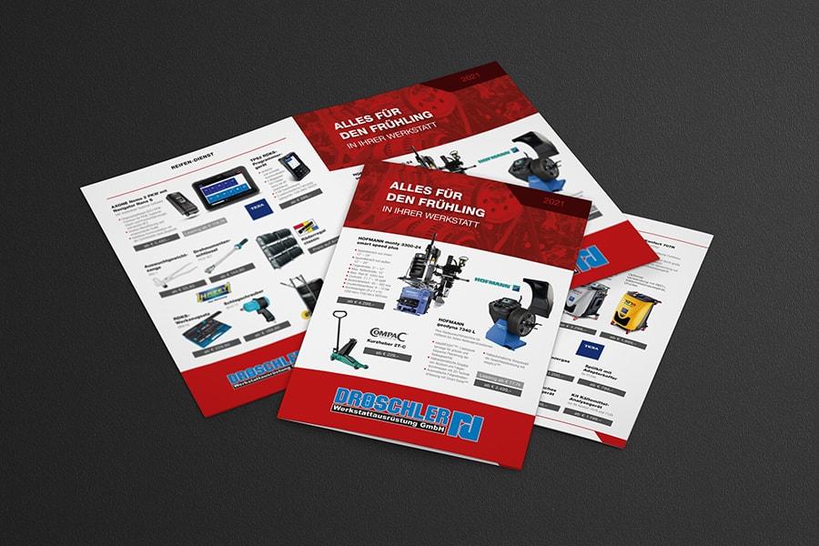 Flyer, Folder, Broschüre, Printdesign, Druck, Technik, Werkstattausrüstung, Reifen, Öl, Flüssigkeiten, Klima, Auto, 2021, Jena, Thüringen