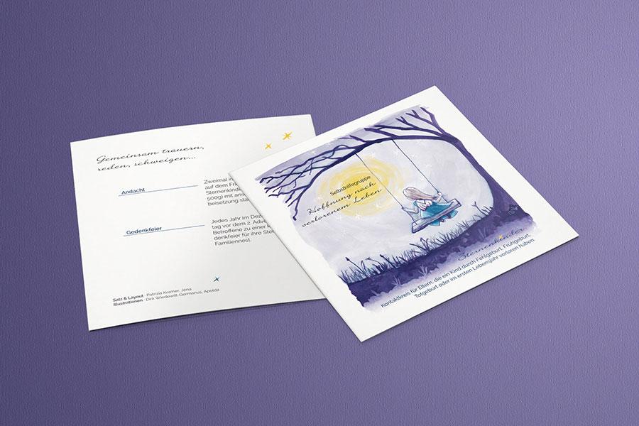 Flyer Selbsthilfegruppe Sternenkinder Eltern Konzept Print Editorial Design Grafikdesign Bildbearbeitung Saalfeld