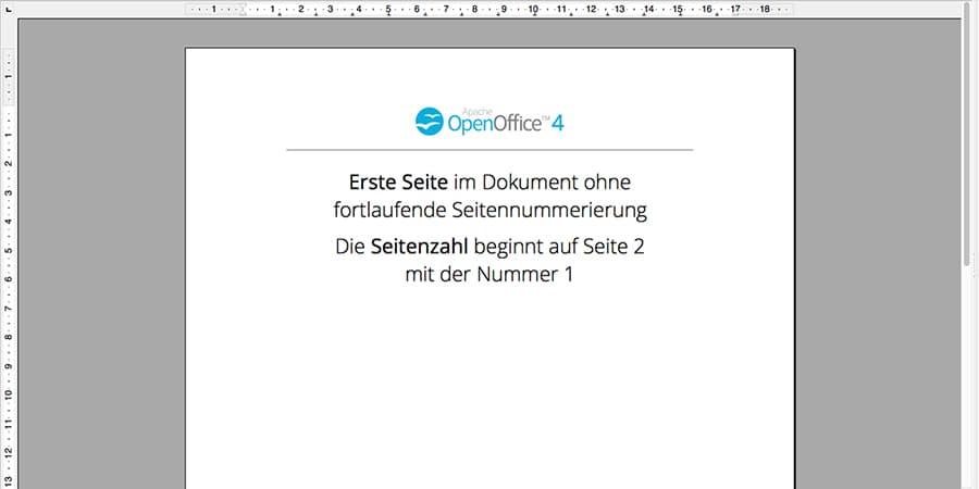 Erste Seite anders, OpenOffice, Seitennummerierung, Seitenumbruch, Seitenzahl, Umbruch