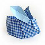 Origami Osterhase blau kariert