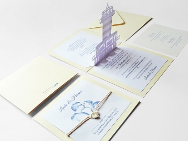 Einladung, Karte, Hochzeit, Papier, Popup, Grafikdesign, Druck, Elsterheide, Sachsen