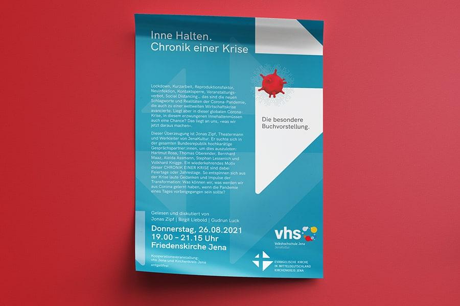 Plakat, Poster, VHS, Volkshochschule, Corporate Design, Layout, Grafik, Grafikdesign, Printdesign, Druck, Jena, Thüringen, Buchvorstellung, Krise, Buch, Literatur, Lesung, Diskussion