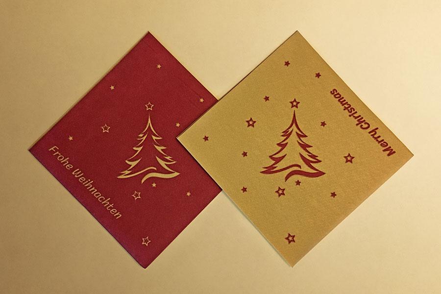 Weihnachten, Airlaid, Serviette, Weihnachtsbaum, bordeaux, rot, gold, Design-Tissue, Design, Grafikdesign, Printdesign, Printmedien, Jena, Thüringen, Frohe Weihnachten, Merry Christmas