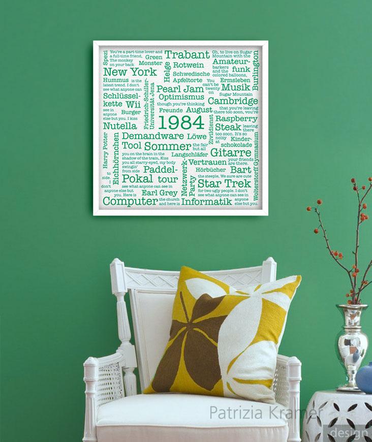 Typografisches Bild an einer grünen Wand