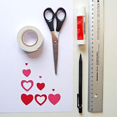 Material für Karte zum Valentinstag