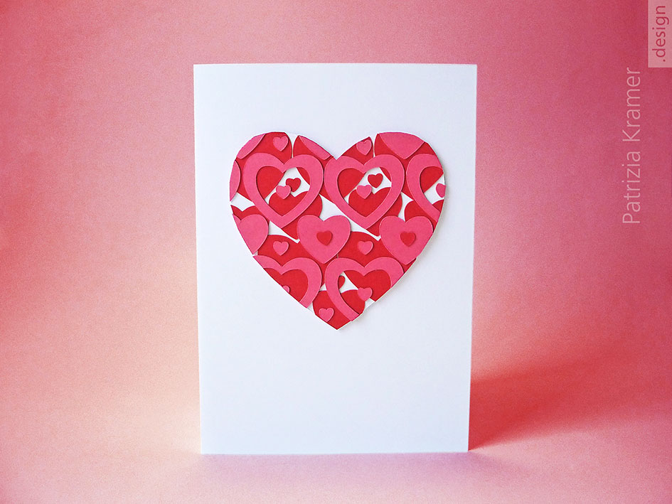 Karte zum Valentinstag mit Herz im Retro-Design