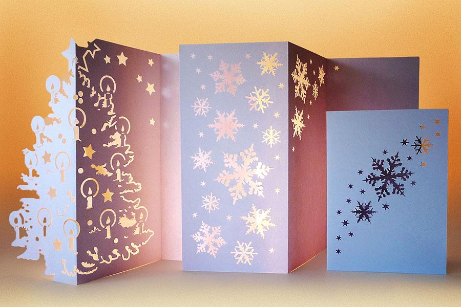 Karten, Weihnachten, Weihnachtskarten, 2014, Papier, Licht, Jena, Thüringen