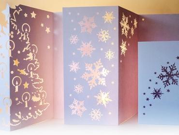 Weihnachtskarte, Licht, Karte, Klappkarte, Handarbeit, Papier, Schneeflocke, Weihnachten, Winter, christmas card