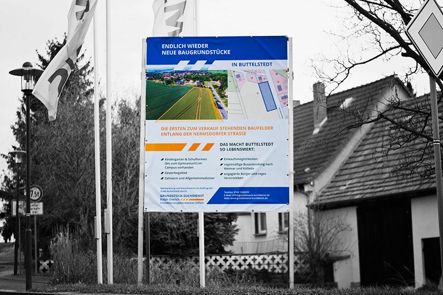 2019, Baugrund, Buttelstedt, Druck, Grafikdesign, Grundstück, Grundstücksuchdienst, Plane, Printdesign, Suchdienst, Werbetechnik, Banner